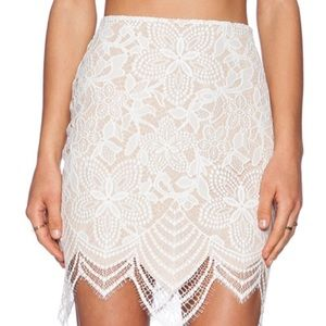 For Love and Lemons Guava lace skirt in white